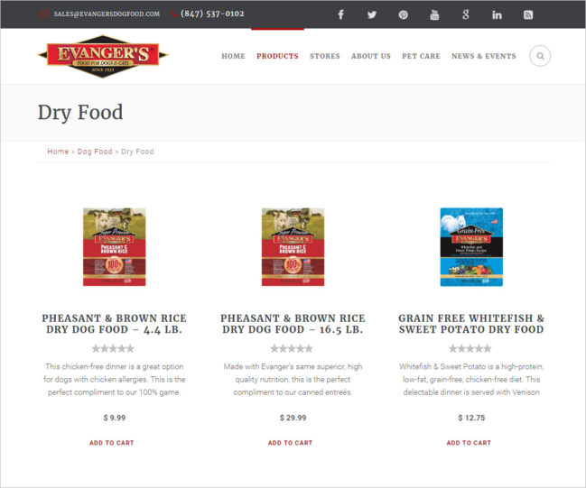 Evanger's Dog Food - Photo of Products Page