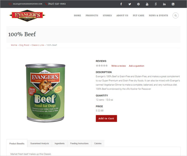 Evanger's Dog Food - Photo of Product Details Page