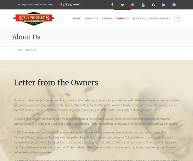 Evanger's Dog Food - Photo of About Page