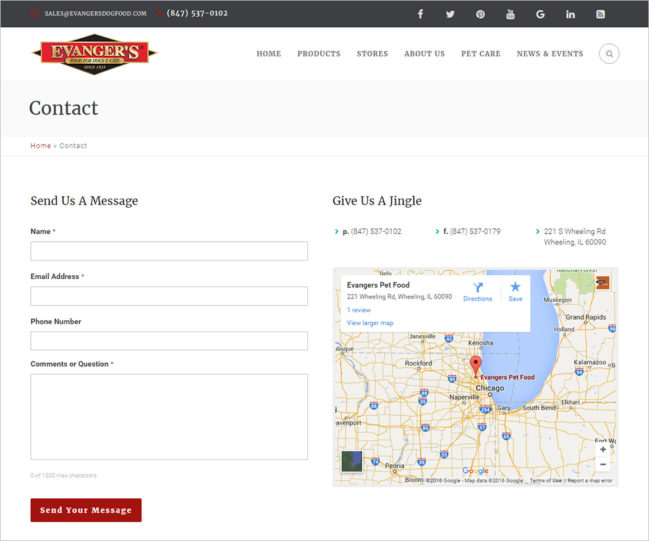 Evanger's Dog Food - Photo of Contact Page