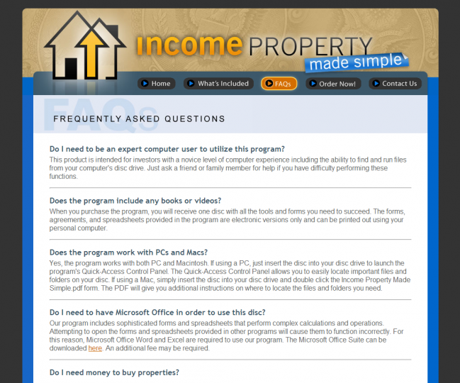 Income Property Made Simple - Photo of FAQs Page