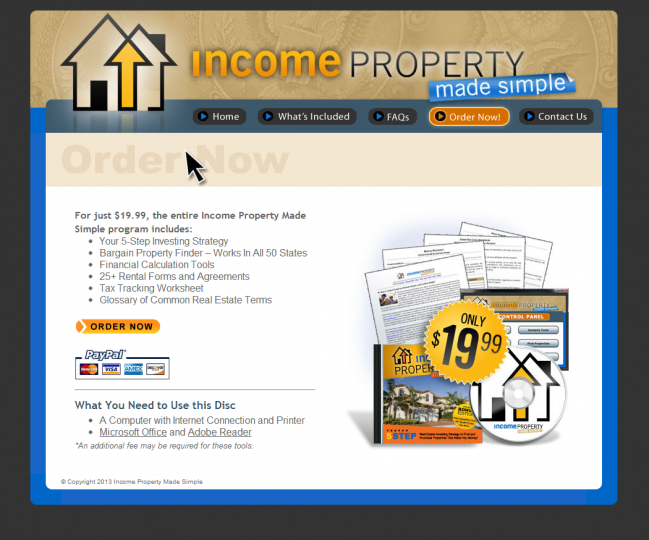 Income Property Made Simple - Photo of Order Now Page