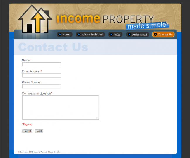 Income Property Made Simple - Contact Us Page