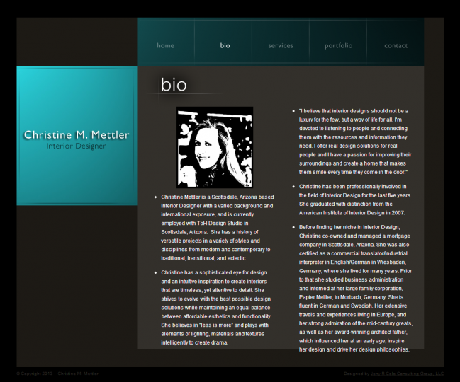 Christine M Mettler Interior Design - Photo of Bio Page
