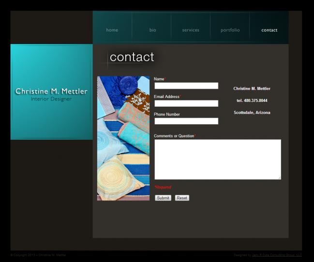 Christine M Mettler Interior Design - Photo of Contact Page