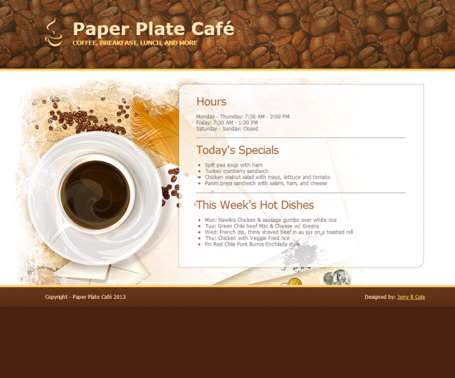 Paper Plate Café - Photo of Home Page