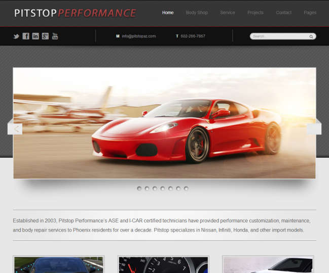 Pitstop Performance - Photo of Home Page