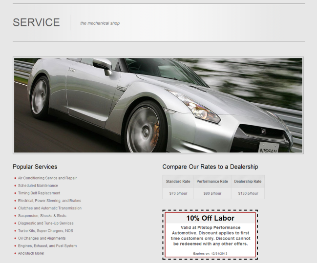 Pitstop Performance - Photo of Service & Repair Page