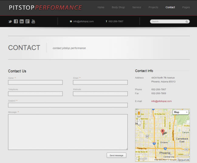 Pitstop Performance - Photo of Contact Us Page