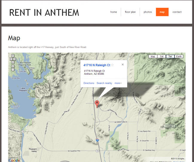 Rent In Anthem - Photo of Map Page