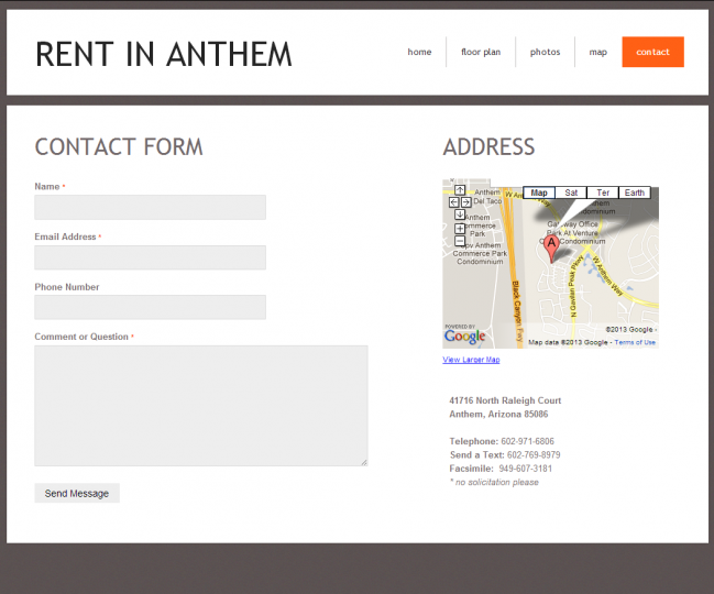 Rent In Anthem - Photo of Contact Page